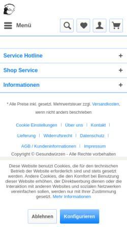 Vorschau der mobilen Webseite www.gesundwuerzen.de, Gesundwürzen, Silvia Lauss