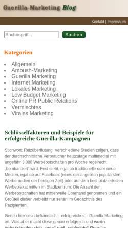 Vorschau der mobilen Webseite www.guerilla-marketing-blog.de, Guerilla Marketing Blog