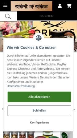 Vorschau der mobilen Webseite www.spirit-of-spice.de, Spirit of Spice GmbH