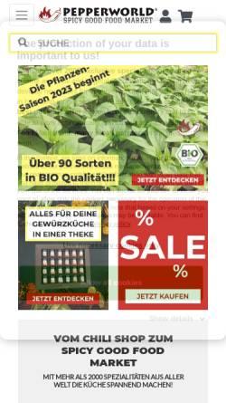Vorschau der mobilen Webseite www.pepperworldhotshop.de, PepperPark GmbH