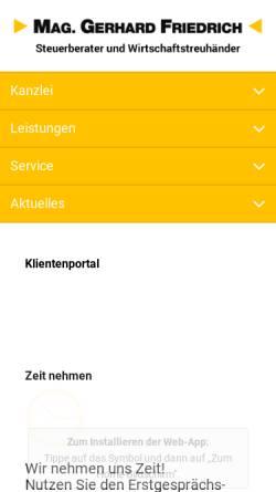 Vorschau der mobilen Webseite www.kanzlei-friedrich.at, Steuerberater Kanzlei Friedrich