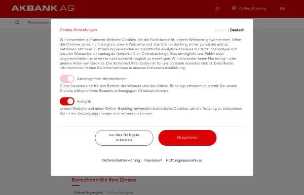 Vorschau von www.akbank.de, Akbank Niederlassung Deutschland