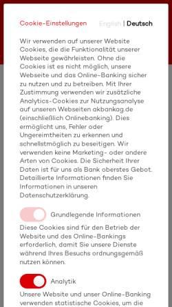 Vorschau der mobilen Webseite www.akbank.de, Akbank Niederlassung Deutschland
