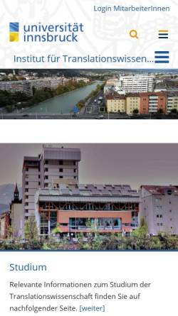 Vorschau der mobilen Webseite www2.uibk.ac.at, Institut für Translationswissenschaft der Universität Innsbruck