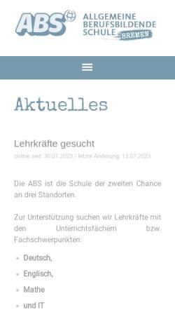 Vorschau der mobilen Webseite www.abs-bremen.de, Allgemeine Berufsschule in Bremen