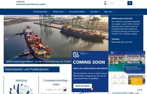 Vorschau von www.isl.org, Institut für Seeverkehrswirtschaft und Logistik