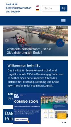Vorschau der mobilen Webseite www.isl.org, Institut für Seeverkehrswirtschaft und Logistik