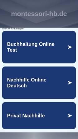 Vorschau der mobilen Webseite www.montessori-hb.de, Montessori-Kinderhaus Oberneuland e.V.