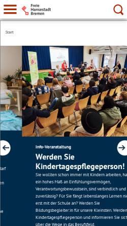 Vorschau der mobilen Webseite www.bildung.bremen.de, Senator für Bildung und Wissenschaft