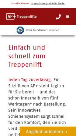 Vorschau der mobilen Webseite www.treppenlift-discount.de, a & p Treppenlifte GmbH