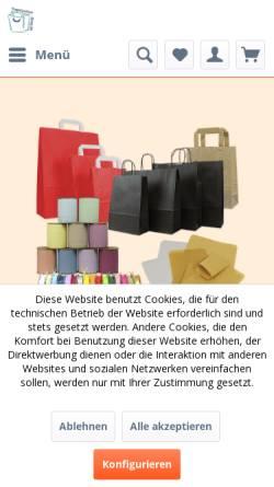 Vorschau der mobilen Webseite www.tragetaschen-shop.de, Tragetaschen-Shop, Inh. Astrid Meyer