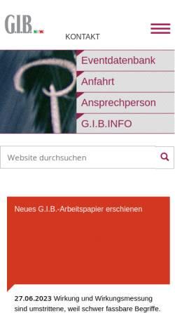 Vorschau der mobilen Webseite www.gib.nrw.de, G.I.B. NRW - Gesellschaft für innovative Beschäftigungsförderung mbH