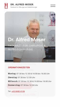 Vorschau der mobilen Webseite www.meddoc-moser.at, Meddoc Moser Dr. Alfred Moser