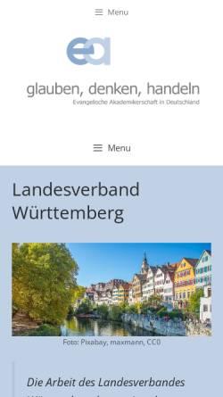 Vorschau der mobilen Webseite www.ev-akademiker.de, Evangelische Akademikerschaft Landesverband Württemberg