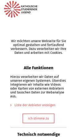 Vorschau der mobilen Webseite www.ksj.de, Katholische Studierende Jugend (KSJ) - Bundesverband