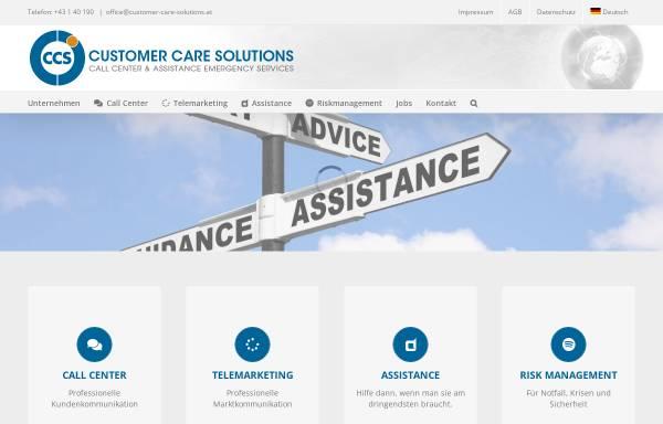 Vorschau von www.customer-care-solutions.at, CCR Call Center Betriebs GmbH