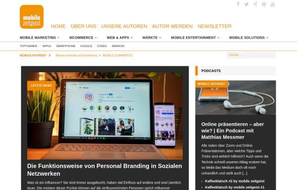 Vorschau von www.mobile-zeitgeist.com, Trends, Anwendungen und Gedanken zum Mobile Business