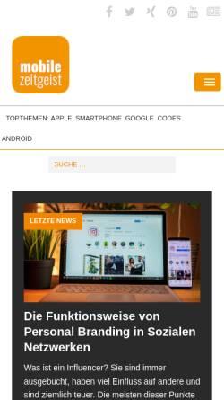 Vorschau der mobilen Webseite www.mobile-zeitgeist.com, Trends, Anwendungen und Gedanken zum Mobile Business