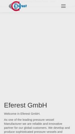 Vorschau der mobilen Webseite www.eferest.de, Eferest Stahlblechbau GmbH