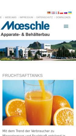 Vorschau der mobilen Webseite www.moeschle.com, Ernst Möschle Behälterbau GmbH