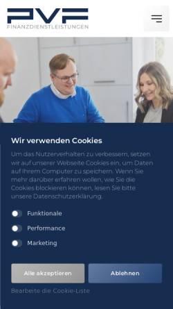 Vorschau der mobilen Webseite www.pvf-finanzen.de, PVF Finanzdienstleistungen GmbH, Spenge