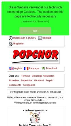 Vorschau der mobilen Webseite www.popchor.de, Popchor Syke