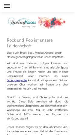 Vorschau der mobilen Webseite swing-voices.ch, Swing Voices Langenthal