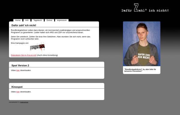 Vorschau von www.dafuer-zahl-ich-nicht.de, Dafür Zahl' ich nicht!