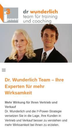 Vorschau der mobilen Webseite www.dr-wunderlich-team.de, Dr. Wunderlich, Team für Training und Coaching - Dr. Jürgen Wunderlich und Kerstin Wunderlich