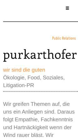 Vorschau der mobilen Webseite www.purkarthofer-pr.at, Mag. Franz-Jakob Purkarthofer, Werbeagentur