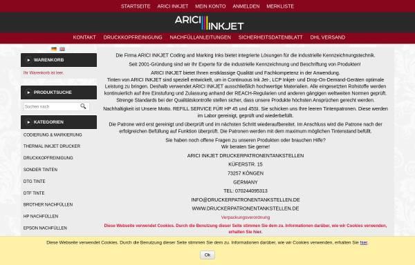 Vorschau von www.druckerpatronentankstellen.de, Arici Group, Inh.: Ayse Arici