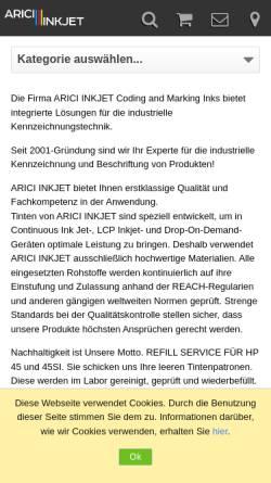 Vorschau der mobilen Webseite www.druckerpatronentankstellen.de, Arici Group, Inh.: Ayse Arici