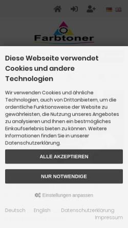 Vorschau der mobilen Webseite farbtoner.com, Farbtoner.com GmbH