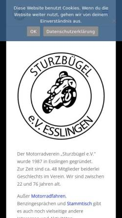 Vorschau der mobilen Webseite www.sturzbuegel.de, Motorradverein Sturzbügel e.V. Esslingen am Neckar