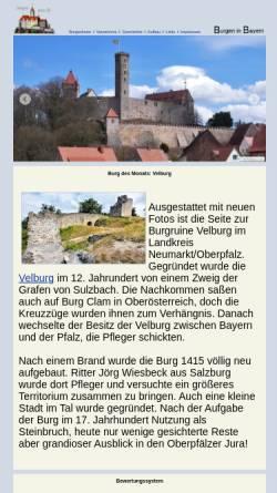 Vorschau der mobilen Webseite www.burgenseite.de, Burgenseite: Burgen der Oberpfalz