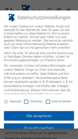 Vorschau der mobilen Webseite www.tintenshop-loehne.de, Tintenshop GmbH