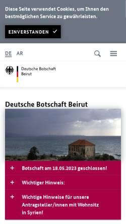 Vorschau der mobilen Webseite www.beirut.diplo.de, Deutsche Botschaft Beirut