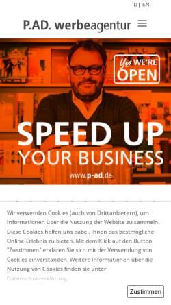 Vorschau der mobilen Webseite p-ad.de, P.AD. Werbeagentur GmbH