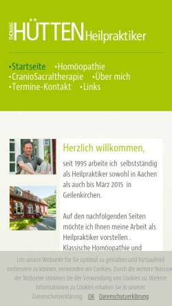 Vorschau der mobilen Webseite www.praxis-thomashuetten.de, Homöopathische Praxis Thomas Hütten