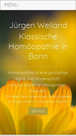 Vorschau der mobilen Webseite www.juergen-weiland.de, Zentrum für Homöopathie und Geburtshilfe