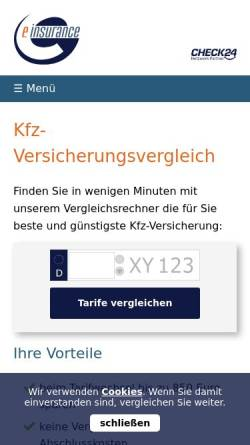 Vorschau der mobilen Webseite www.einsurance.de, Einsurance AG