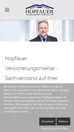 Vorschau der mobilen Webseite www.hopfauer.de, Hopfauer Versicherungsmakler GbR