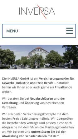 Vorschau der mobilen Webseite www.inversa.de, Inversa GmbH Versicherungsmakler