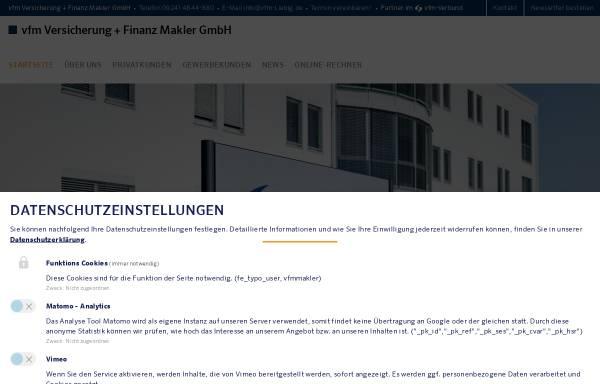 Vorschau von www.vfm.de, VVFM Versicherung+Finanz Makler GmbH