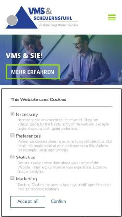 Vorschau der mobilen Webseite www.vmsmakler.de, VMS Assekuranz GmbH