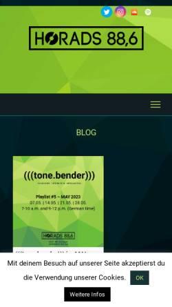 Vorschau der mobilen Webseite www.horads.de, HochschulRadio Stuttgart (HoRadS)
