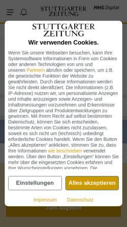 Vorschau der mobilen Webseite www.stuttgarter-zeitung.de, Stuttgarter Zeitung