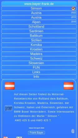 Vorschau der mobilen Webseite www.bayer-frank.de, Motorradtour durch Slowenien