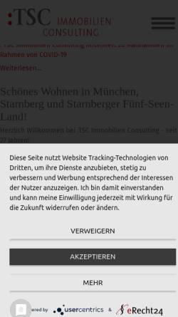 Vorschau der mobilen Webseite www.tsc-immobilien.de, TSC Immobilien Consulting GmbH