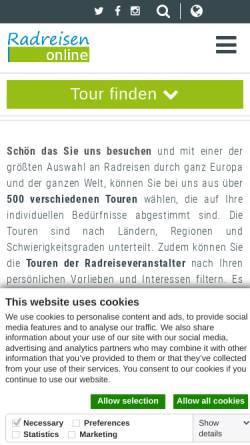 Vorschau der mobilen Webseite www.radreisen-online.de, Radreisen Online
